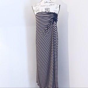 Max Studio Strapless Maxi Ruched Striped Sundress